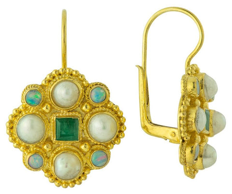 14k Lord Montalban Emerald, Pearl, & Opal Earrings
