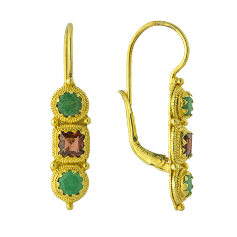 Thira Emerald and Garnet Earrings