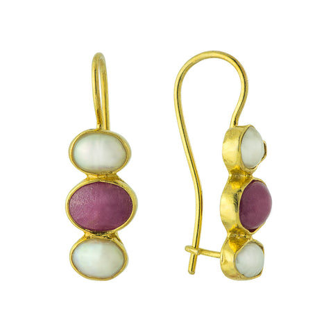 Twilight Ruby & Pearl Earrings