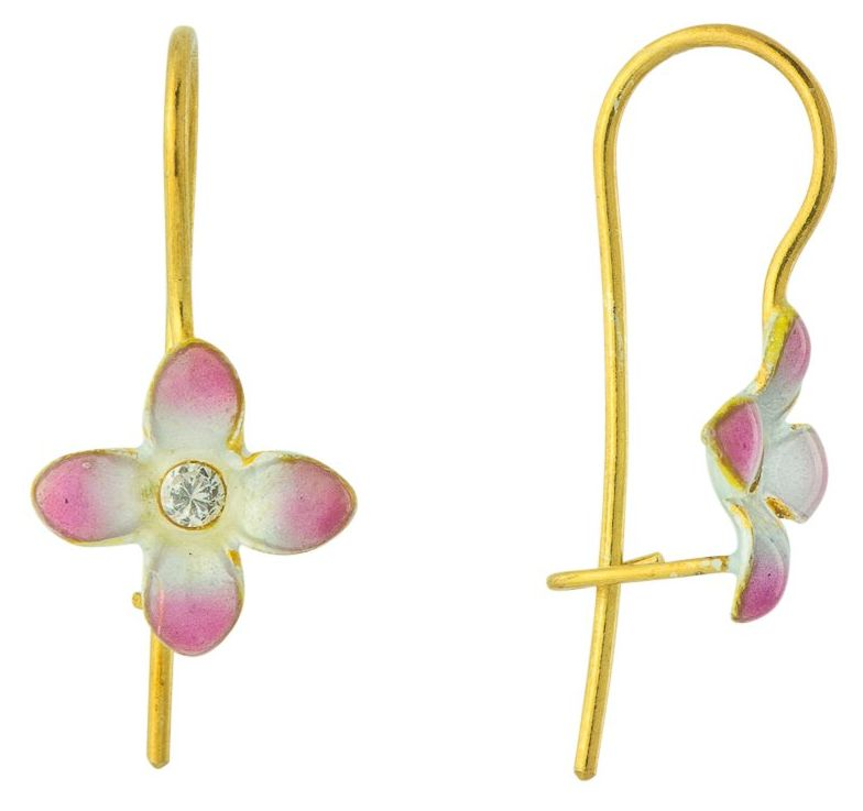 Flower Power 14k Gold and Cubic Zirconia Earrings