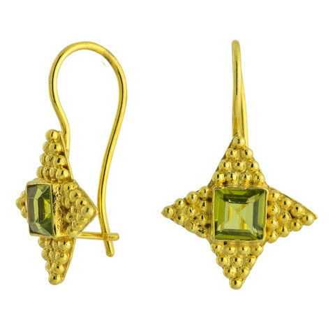 Alexandrian Star Peridot and 14k Gold Earrings