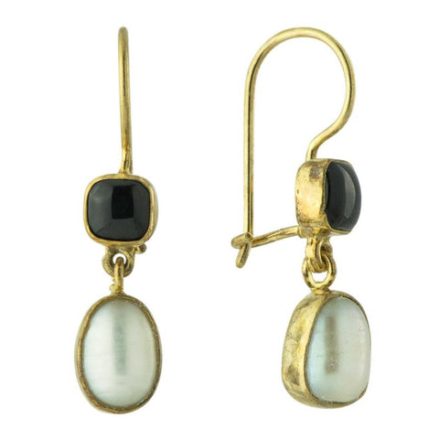 Vogue Onyx and Pearl Earrings