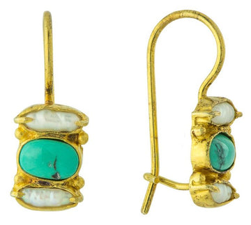 Dover Pearl With Turquoise Earrings