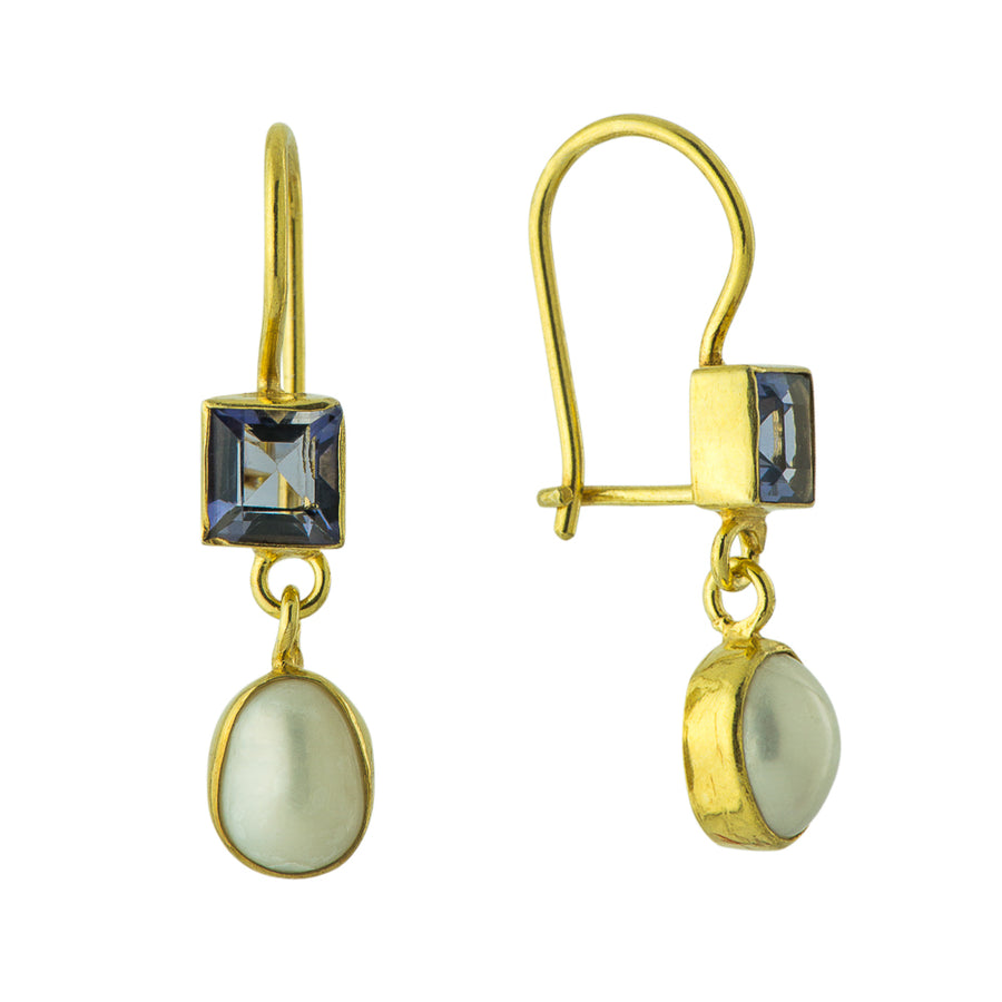 Vogue Iolite and Pearl Earrings