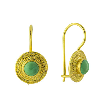Turquoise Disc Earring