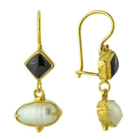 Modish Onyx and Pearl Earrings