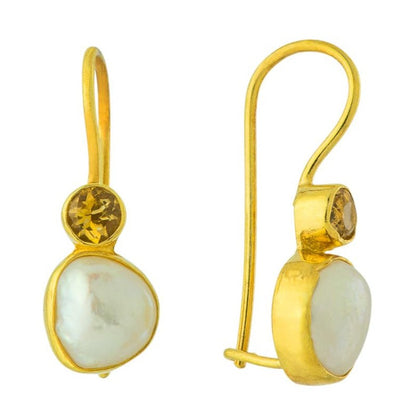Moon and Stars Pearl and Citrine Earrings