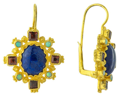 Anastasia Garnet and Lapis Earrings
