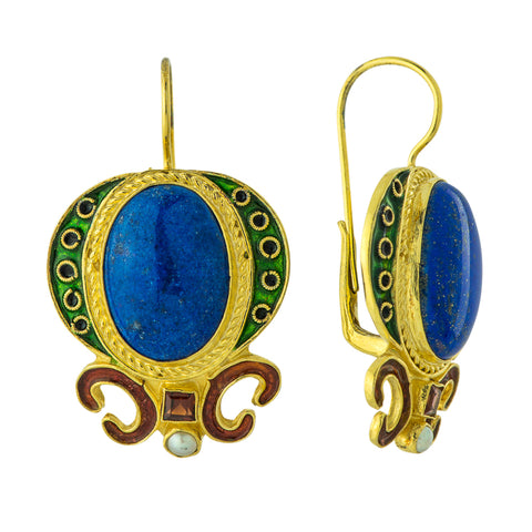 Medici Lapis, Garnet and Pearl Earrings