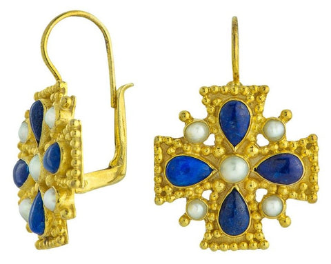 Catherine Of Aragon Lapis, Pearl Earrings