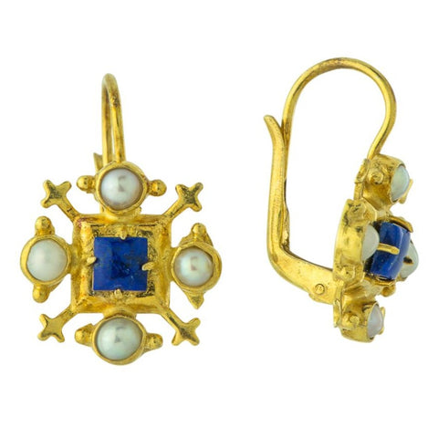 Duchess Of Gloucester Lapis & Pearl Earrings
