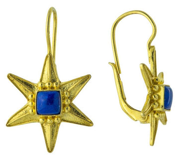 Star of David 14k Gold and Lapis-lazuli Earrings