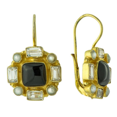 Grand Duchy Onyx, Cubic Zirconia, & Pearl Earrings