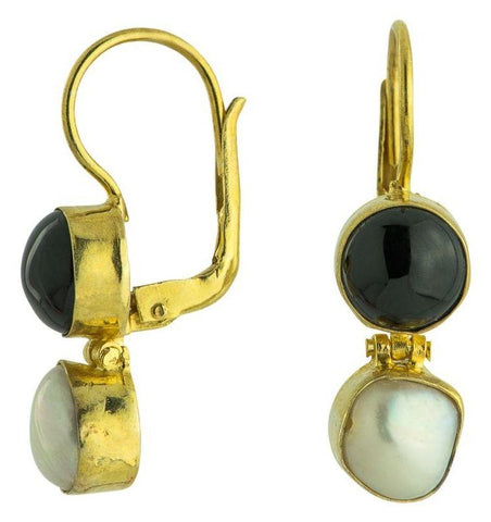 Lamermoor Onyx & Pearl Earrings
