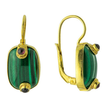 Emerald Isle Malachite and Garnet Earrings