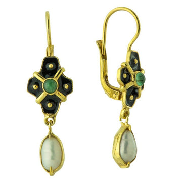 La Belle Dame Pearl and Emerald Earrings