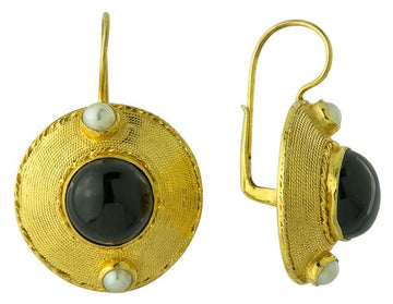 Regent's Park Onyx and Pearl Earrings