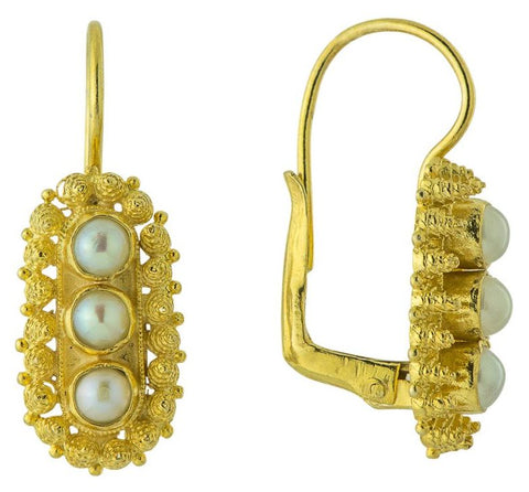 Salisbury Cross Pearl Earrings