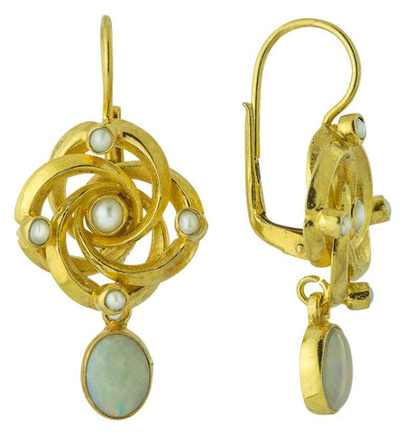 Labyrinth Opal & Pearl Earrings