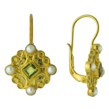 Georgian Peridot and Pearl Earrings