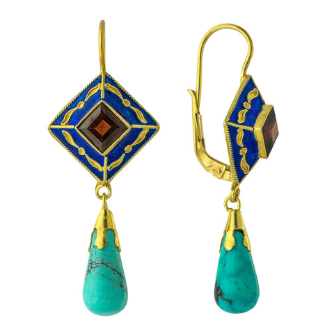 Drop Turquoise and Garnet Earring