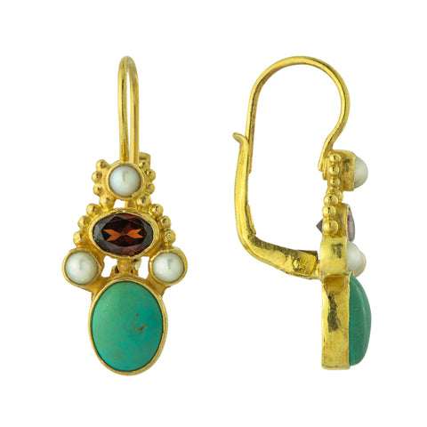 Opera Comique Turquoise, Garnet, and Pearl Earrings