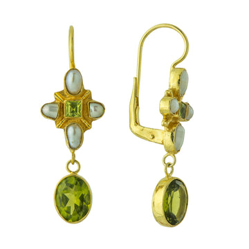 Marseille Peridot and Pearl Earrings