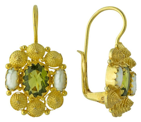 Jane Austen Peridot & Pearl Earrings