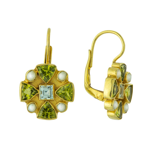 Valois Cross Peridot, Blue Topaz & Pearl Earrings