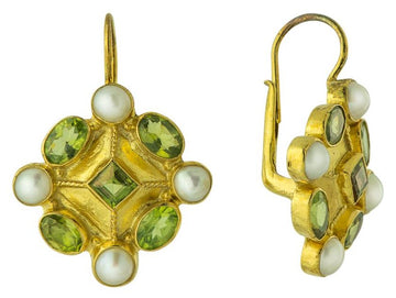 Magellan Peridot and Pearl Earrings