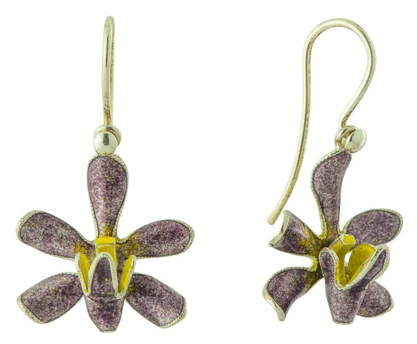 Purple and Yellow Floral Enamel Earrings