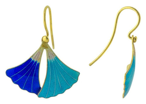 Leaf Enamel Earrings