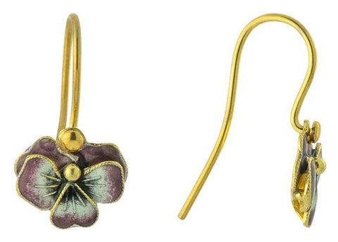 Vintage Shashi Purple Pansy Enamel Earrings