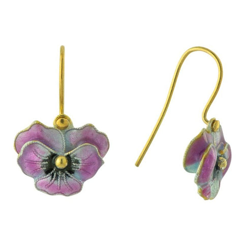 Vintage Shashi Pink Pansy Enamel Gold-Vermeil Earrings