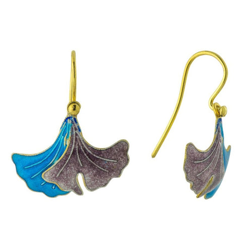 Vintage Shashi Gingko Leaf Earrings