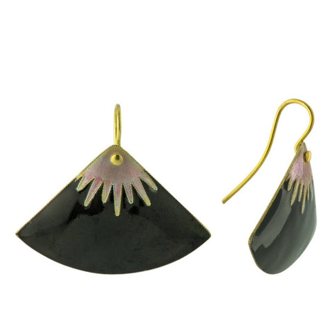 Vintage Shashi Large Fan Black and Mauve Gold-Vermeil Earrings