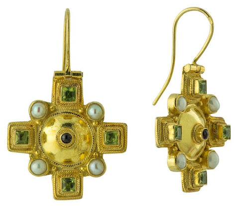 Canterbury Cross Peridot Earrings Rennaissance Period Design Sterling Silver