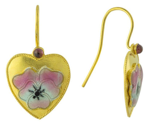 Vintage Shashi Hearts of Flower Gold-Vermeil Earrings