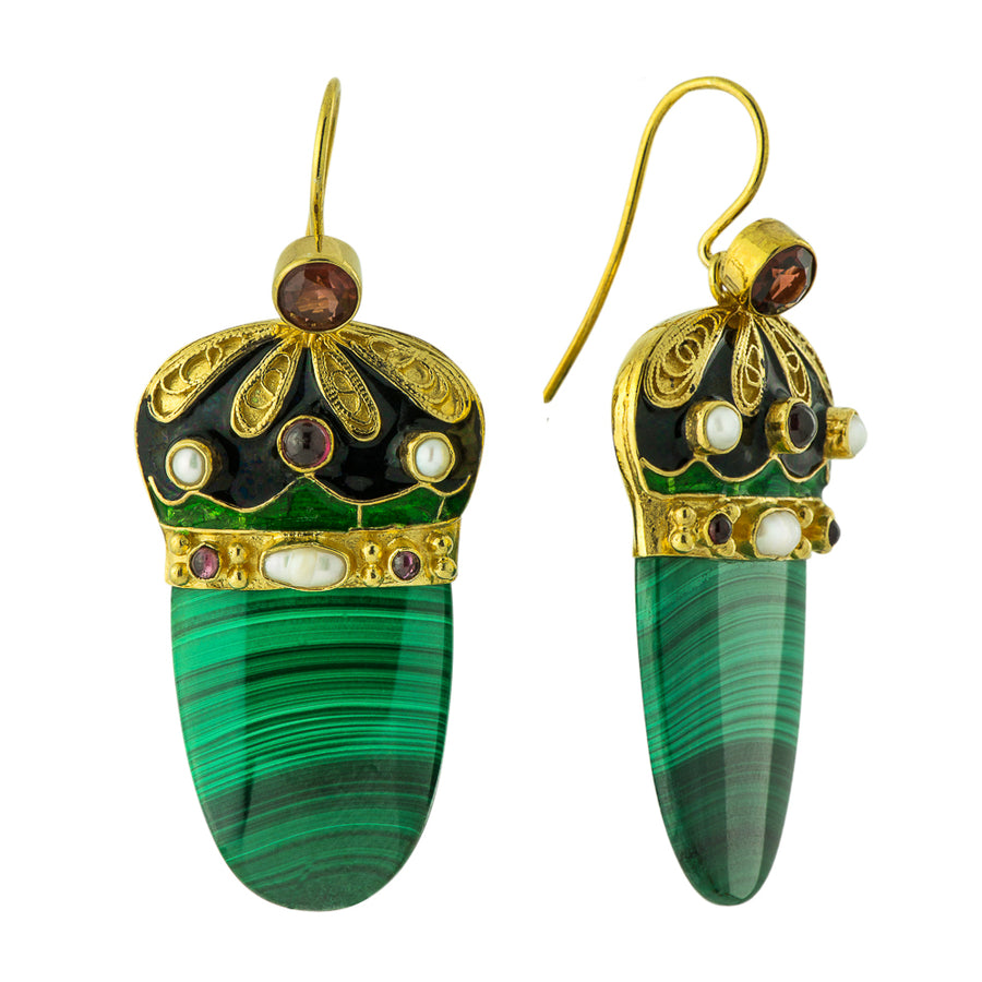 Nicholas I 14k Gold, Malachite, Garnet and Pearl Earrings