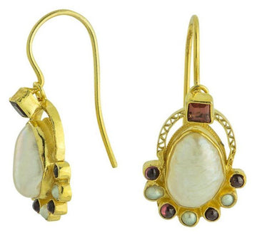 Sotherby Pearl and Garnet Earrings