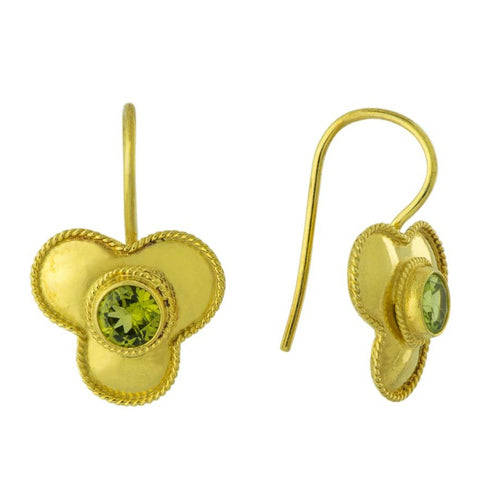 Peridot Flower Earrings