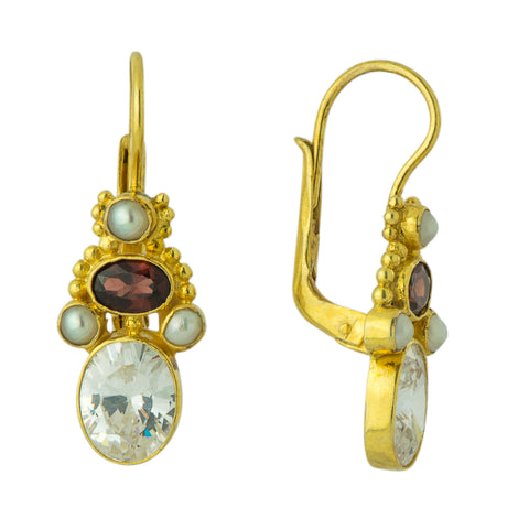 Opera Comique Cubic Zirconia, Garnet, and Pearl Earrings