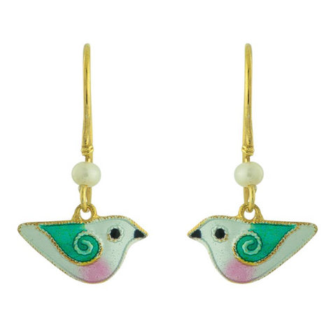 Flying High White Enamel Earrings