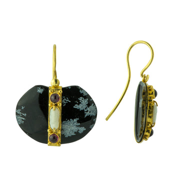 Tsar Alexander Snowflake Obsidian, Garnet and Pearl Earrings