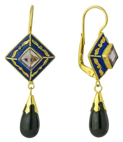 Kublai Khan Amethyst Onyx Renaissance Earrings sold by Museum of Jeweelry