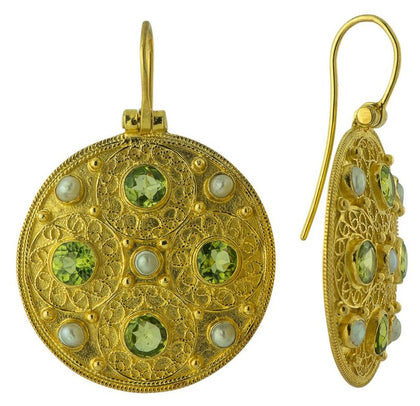 Ravenna Peridot & Pearl Earrings