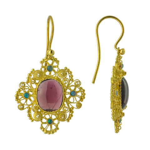 Marquessa Of Rockingham Garnet Earrings - Screw Backs