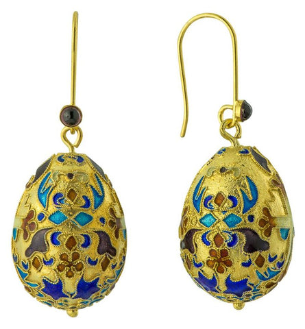 Russian Egg Garnet Earrings