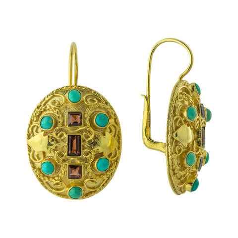 Lady Ashford Turquoise & Garnet Earrings