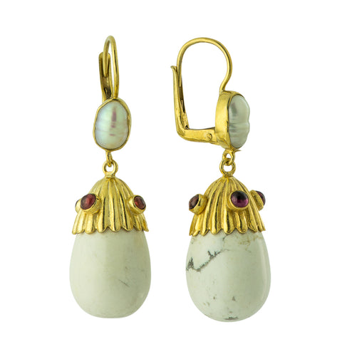 Tatiana Egg White Howlite, Pearl & Garnet Earrings